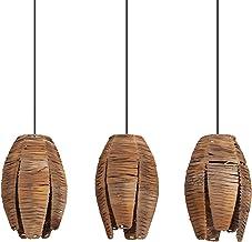 EGLO Mongu 1 lampa wisząca w stylu vintage, afrykańskim, boho, lampa wisząca z drewna i stali, lampa do jadalni, lampa do ...