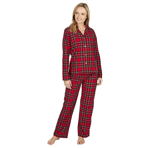 59e79d49f Ladies Thermal Pyjamas Soft Touch Flannel Traditional Button Up Style Tartan