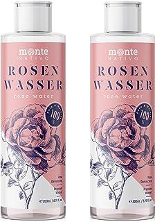 Reines Rosenwasser MonteNativo 2x200ml 400ml - 100% natürlich, echtes Gesichtswasser, Rein und Naturbelassen, naturreines Rosen-Hydrolat, doppelte Wasserdampfdestillation, Naturkosmetik, Rose Water