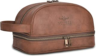 Vetelli Classic Leather Toiletry Bag, Water-Resistant Lining, Perfect Gift And Travel Accessory For Men