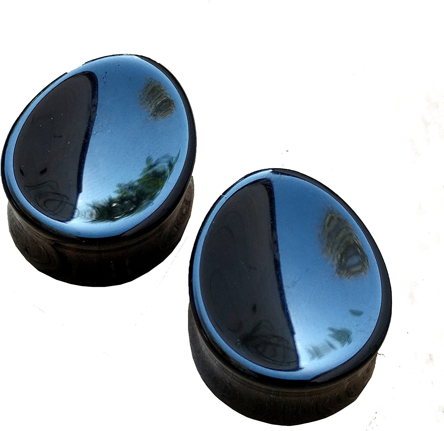 New! Black Obsidian Stone Teardrop Plugs Sold In Pairs 2G - 1 /& 12 Inch Double Flare