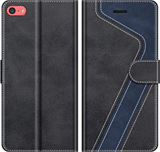 MOBESV Funda para iPhone 5C, Funda Libro iPhone 5C, Funda Móvil iPhone 5C Magnético Carcasa para iPhone 5C Funda con Tapa, Negro