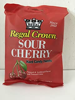 Regal Crown Sour Cherry Hard Candy Peg Bag 4 oz (Pack of 12)
