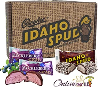 Idaho Spud Bars 12 pack in Collectible Gift Box that resembles a carton of potatoes with 2 Idaho Wild Huckleberry Gems Candy Bars.