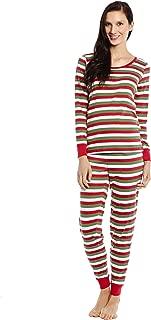 Women's Pajamas Fitted Striped 2 Piece Pjs Set 100% Cotton Sleep Pants Sleepwear (XSmall-XLarge)