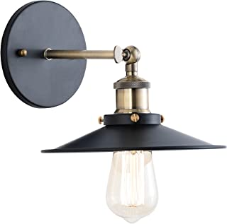 Light Society Cressley Wall Sconce, Matte Black with Antique Brass Finish, Vintage Modern Industrial Farmhouse Lighting Fixture (LS-W128)