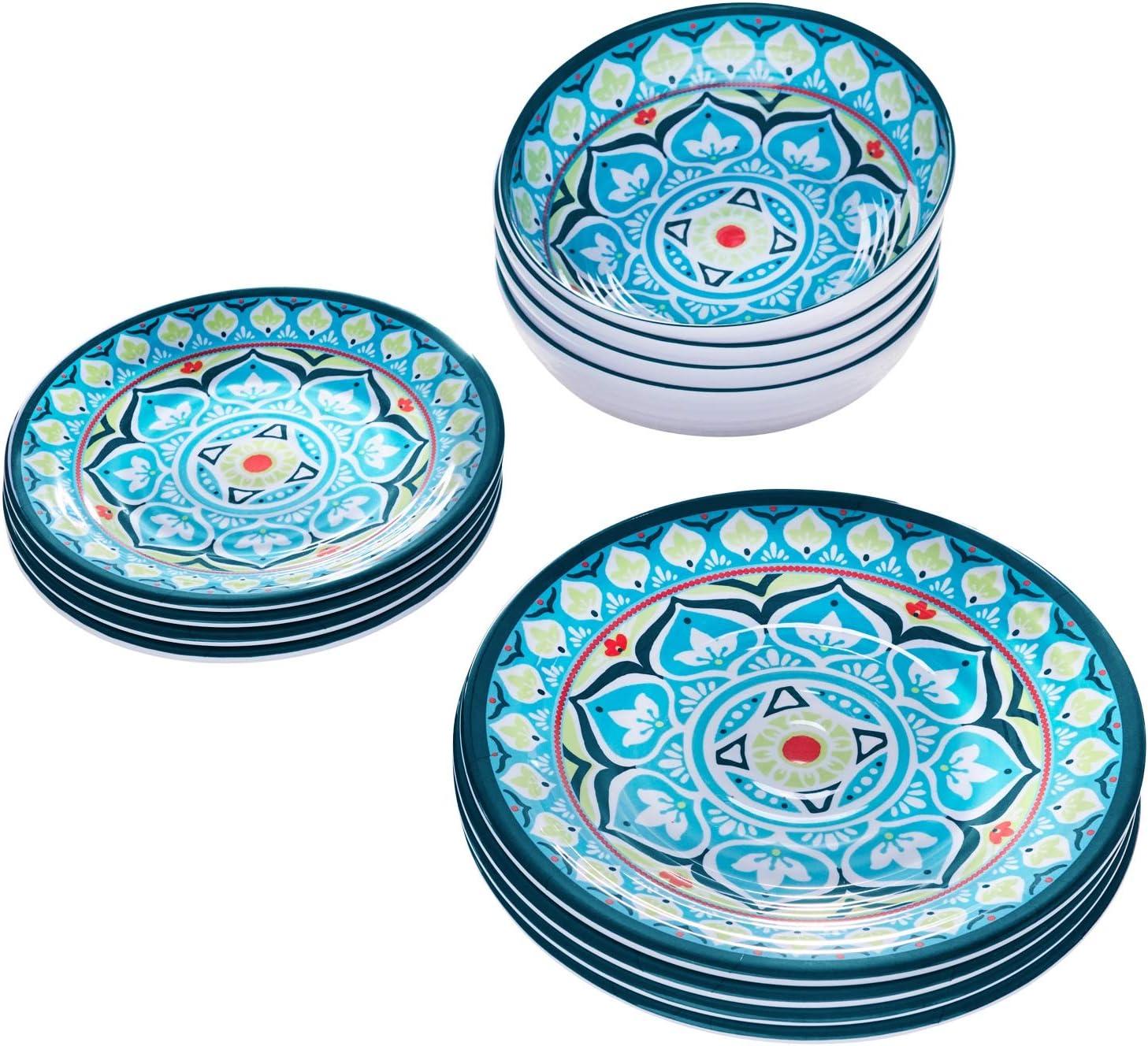 BrylaneHome Blue Casab Melamine 12 online shop Dinnerware Outlet SALE O Piece Set Multi