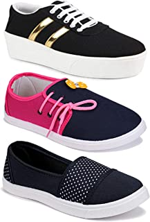 Shoefly Women Combo Pack of 3 Multicolour Latest Collection Loafers Sneakers Shoes (Combo-(3)-1044-11028-11032)