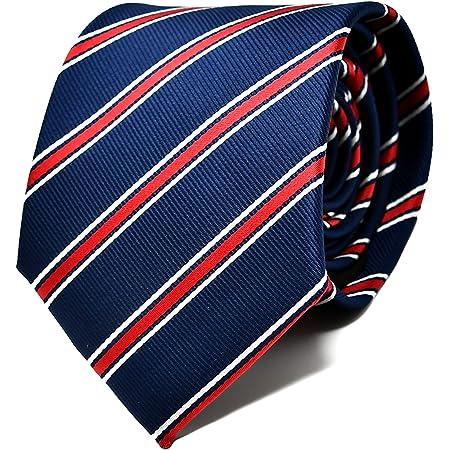 Oxford Collection Corbata de hombre Azul y Rojo a Rayas - 100% Seda - Clásica, Elegante y Moderna - (ideal para un regalo, una boda, con un traje, en ...