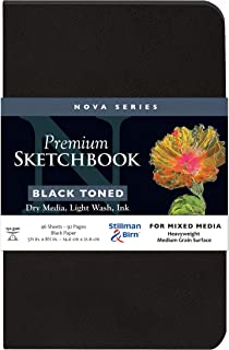 "Stillman & Birn Nova Series Black Softcover Sketchbook, 5.5"" x 8.5"", 150 GSM (Heavyweight), Black Paper, Medium Grain Surface"