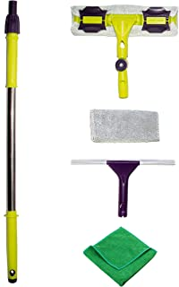 Premium Window Squeegee Kit with Extension Pole and Microfiber Glass Scrubber Includes Soft Rubber Blade and Replacement Cleaner Pad with Bonus Polishing Cloth for House Shower Car and Outdoor
