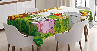 Ambesonne Nursery Tablecloth, Cartoon Style Zoo Animals Safari Jungle Mascots Tropical Forest Wildlife Pattern, Rectangular Table Cover for Dining Room Kitchen Decor, 60