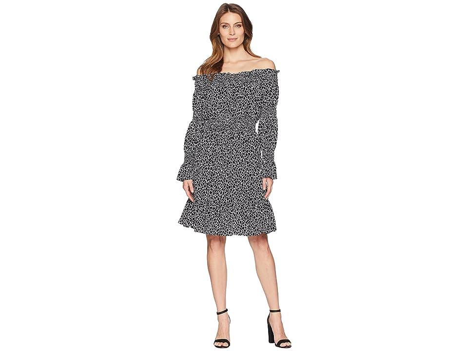 MICHAEL Michael Kors Graphic Leopard Off Shoulder Dress (White/Black) Women