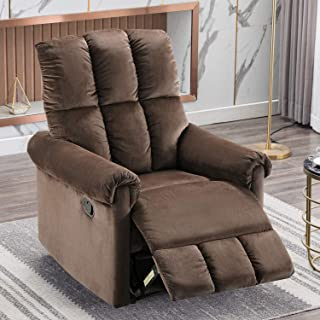 Bonzy Home Recliner Chair - Manual Reclining Chair for Elderly, Premium Single Sofa for Living Room (Camel) - Thick & Firm Cushioned Cozy Lounge, Ideal Reading Chair