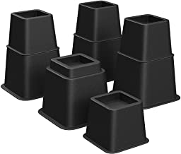SONGMICS Bed Risers, 8-Pack Furniture Risers, Heavy Duty Bed Lifts in Heights of 3, 5 or 8 Inches, Lifts up to 1300 lb, Stackable Risers for Sofa, Table Legs Extenders, Black UCDG001B01