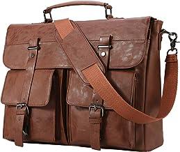 Seyfocnia Leather Messenger Bag for Men, 15.6 Inch Vintage Laptop Bag Briefcase Satchel