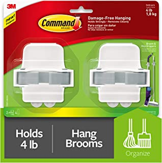 Command Broom Gripper, White with Grey Band, Decorate Damage Free, 2 gripper, (17007-HW2ES)