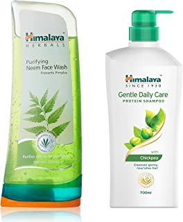 Himalaya Herbals Purifying Neem Face Wash, 300ml And Himalaya Gentle Daily Care Protein Shampoo, 700ml