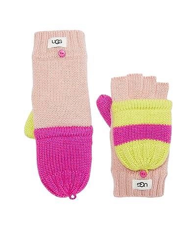 UGG Kids Color-Block Knit Flip Mittens (Toddler/Little Kids) (Rock Rose Multi) Snowboard Gloves