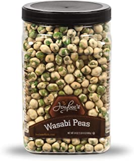 Wasabi Peas - (24 oz) Great Crunchy Spicy Snack for Daily Use - Plenty to Share - Reusable Jar - Kosher Certified - By Jaybee's Nuts