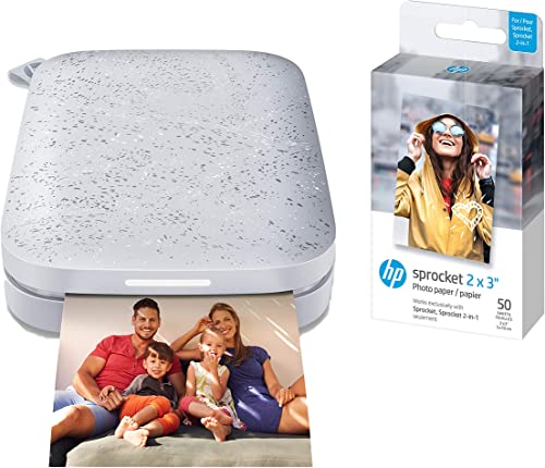 "HP Sprocket Portable Photo Printer (2nd Edition) – Instantly print 2x3"" sticky-backed photos from your phone – [Luna ..."
