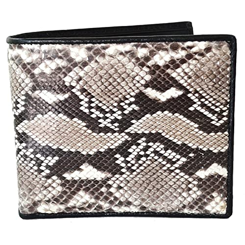 256713356506 Lupadu Authentic Snake Skin Men's Bifold Python Snake Natural Beige&White  Wallet