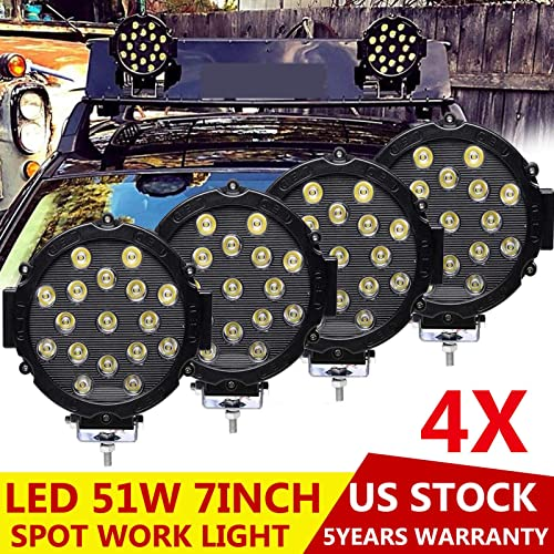 wholesale 51W LED Work Light Spot Beam with Mounting Brackets IP68 outlet sale Waterproof Offroad Lights for lowest 12V 24V Vehicle Truck 4WD Agriculture Mining Lighting, Pack of 4 online