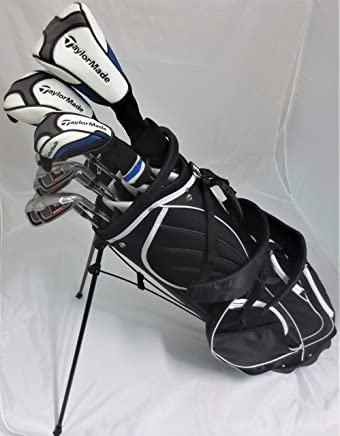 TaylorMade Mens Complete Golf Set - Driver, Fairway Wood, Hybrid, Irons, Putter, Stand Bag Regular Flex Clubs