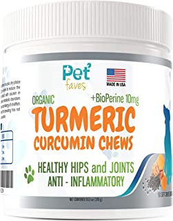 Natural Dog Hip & Joint Supplement for Dogs Arthritis Pain Relief. Turmeric Curcumin with Black Pepper for Anti Inflammato...