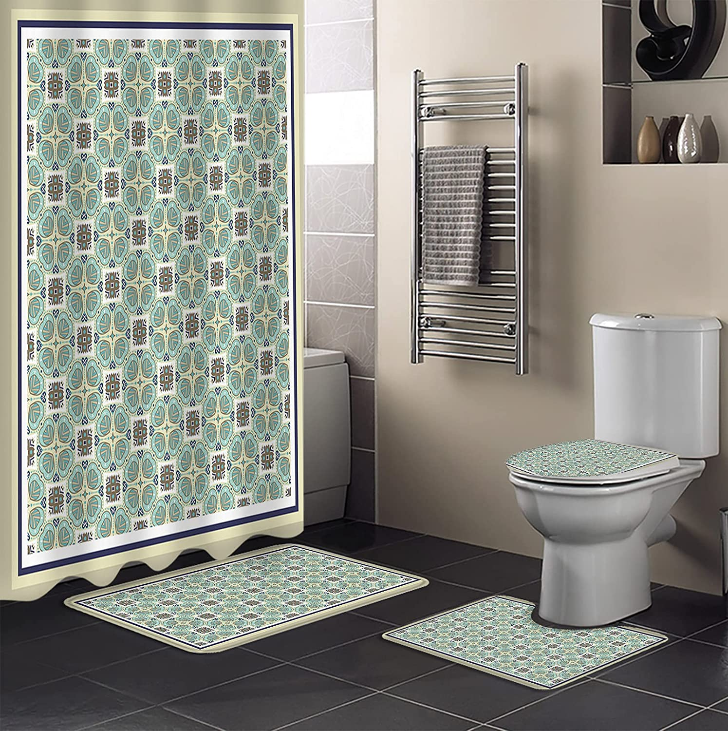 4Pcs Shower Curtain Sets Max 88% OFF NEW before selling with Boho Style Bathroom Rugs Non-Slip