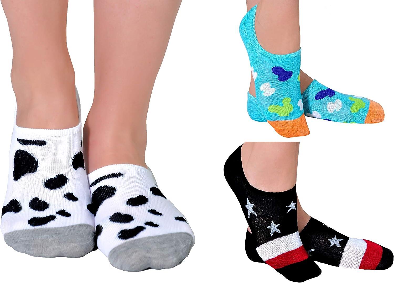 Aurellie Women Girls Invisible No Show Low Cut Breathable Socks (Size 4-8) 3PackMIX 4