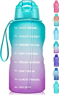 Giotto Large 1 Gallon/128oz Motivational Water Bottle with Time Marker & Straw,Leakproof Tritan BPA Free Water Jug,Ensure ...