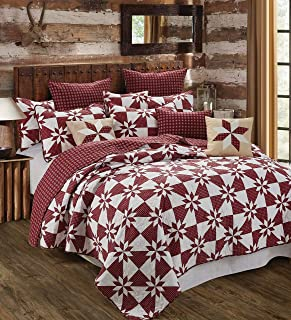 Virah Bella Collection - Hunters Star Red Printed Quilt Set - King Size