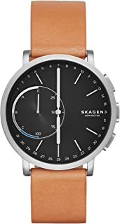 Connected Men's Hagen Titanium and Leather Hybrid Smartwatch, Color: Silver-Tone, Tan (Model: SKT1104)