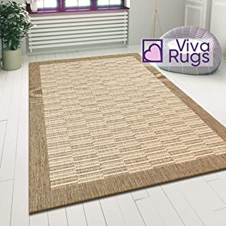 "Viva Rugs Hard Wearing Rug Sisal Look Natural Beige Modern Carpet 120x170cm - 4'x5'6"" ft Flat Woven Room Hallway Runner Mat"