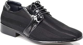 Enzo Romeo JY5N Men's Satin Metal Silver Tip Oxfords Tuxedo Dress Shoes Stripes Oxfords Dress Shoes