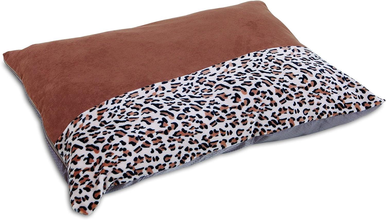 Aspen Pet Animal Print Knife Edge Pillow Bed, 27  x 36 , Brown