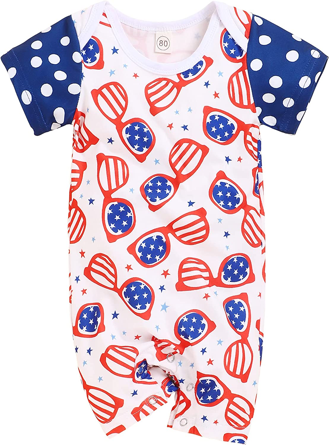 4th of Superior July Albuquerque Mall Outfit Baby Boy American Glasses Shirt Bodysuit Flag