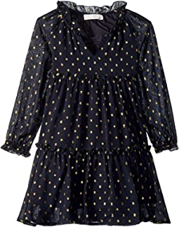 Constance Long Sleeve Tulle Gold Polka Dot Dress (Toddler/Little Kids/Big Kids)