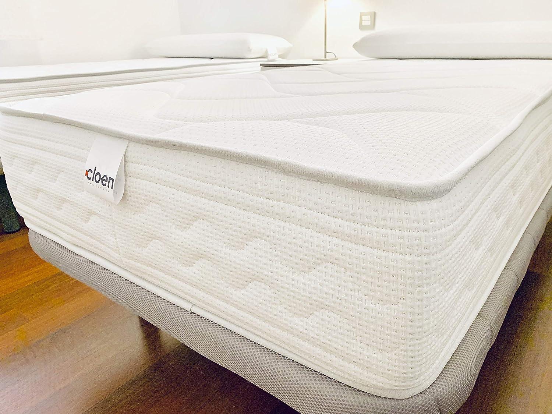 CLOEN Colchón 150x190 cm Visco Soft Confort Tejido Moncel Aloe Vera Acolchado con PUR Super Suave Altura Total 27 cm