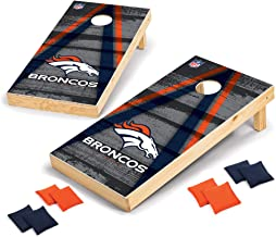 Wild Sports Denver Broncos 2' x 4' Wood Tournament Set - Direct Print Vintage Triangle - Outdoor Set with Eight Bean Bags