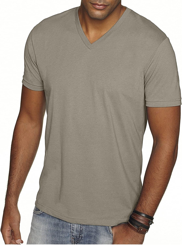 Next Level Men's Premium Sueded Short Sleeve V-Neck T-Shirt, XL, WARM GRAY