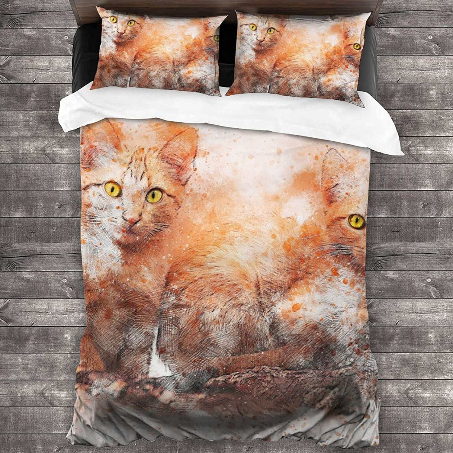 Olanustu Ranking TOP9 Queen New mail order Comforter Set Ink Lightweight Wash and Cats