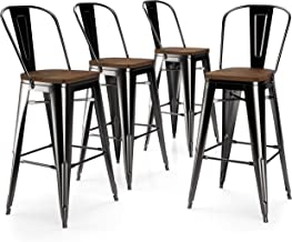 "VIPEK 30 Inch Metal Bar Stools Set of 4 Bar Height Barstool 30"" Bar Chairs with.."