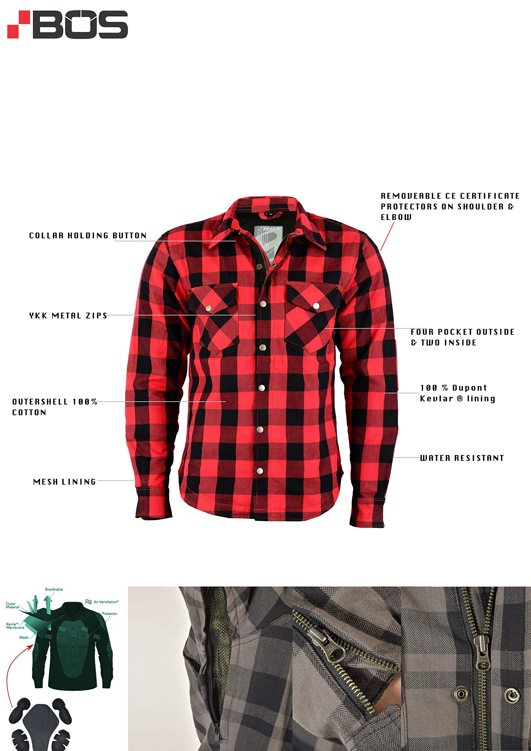BOSmoto Kevlar - Camisa de cazador de leña, vaquero, aramida, guantes de piel: Amazon.es: Coche y moto