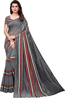 c1fcb9352dbbca Anni Designer Women's Silver Color Silk Cotton Plain Saree With Blouse  Piece(MEENA-SILVER_Free