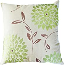 Blue Dolphin Decorative Chrysanthemum Flower Embroidery Floral Throw Pillow Cover 18 Lime Green