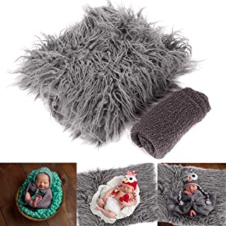 Yinuoday 2PCS Newborn Baby Photography Props DIY Newborn Wraps Photography Mat Blanket for Baby Boys and Girls