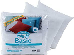 Fairfield Poly-Fil Basic Insert 16 x 16 Two Pack-for Décor and Throw Pillows, White