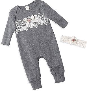 09d9ef3bf34 Tesa Babe Lace Flower Romper + Headband Set for Newborn   Baby Girls